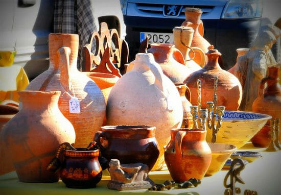 Pottery stall at local Rastro