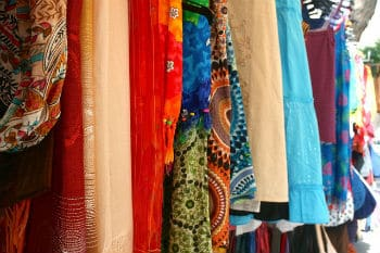 Picture of clothes stall at street market in Spain